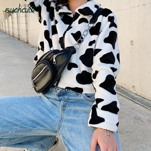 SUCHCUTE Fur Coats For Women Cow Print Teddy Jacket Modis Longslive Zipper Casua