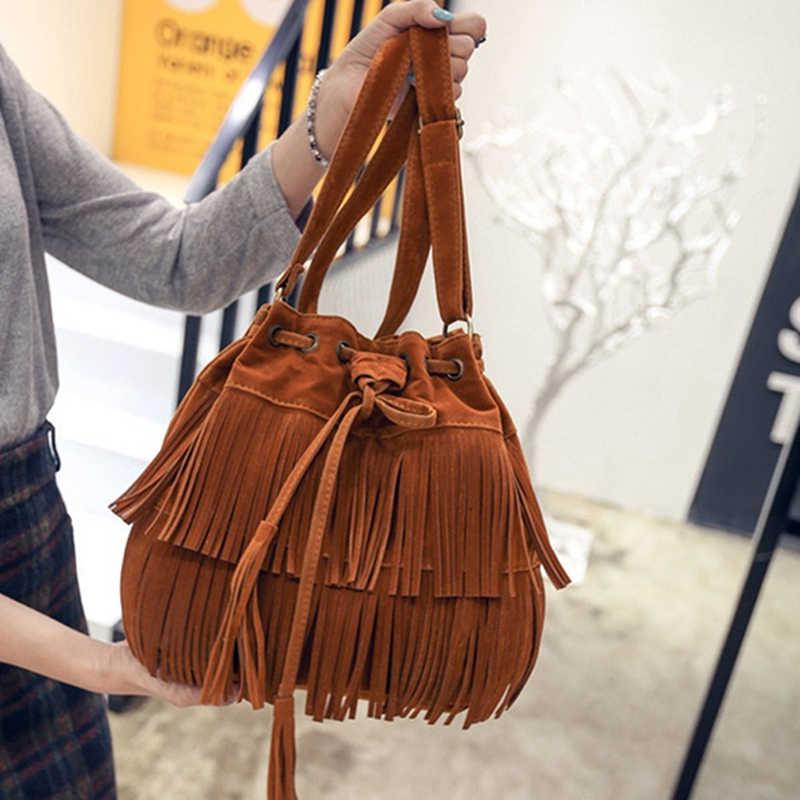 Женская сумка-мессенджер из искусственной замши с бахромой в стиле ретро, новая сумка с кисточками, сумка через плечо, Bolsa Feminina