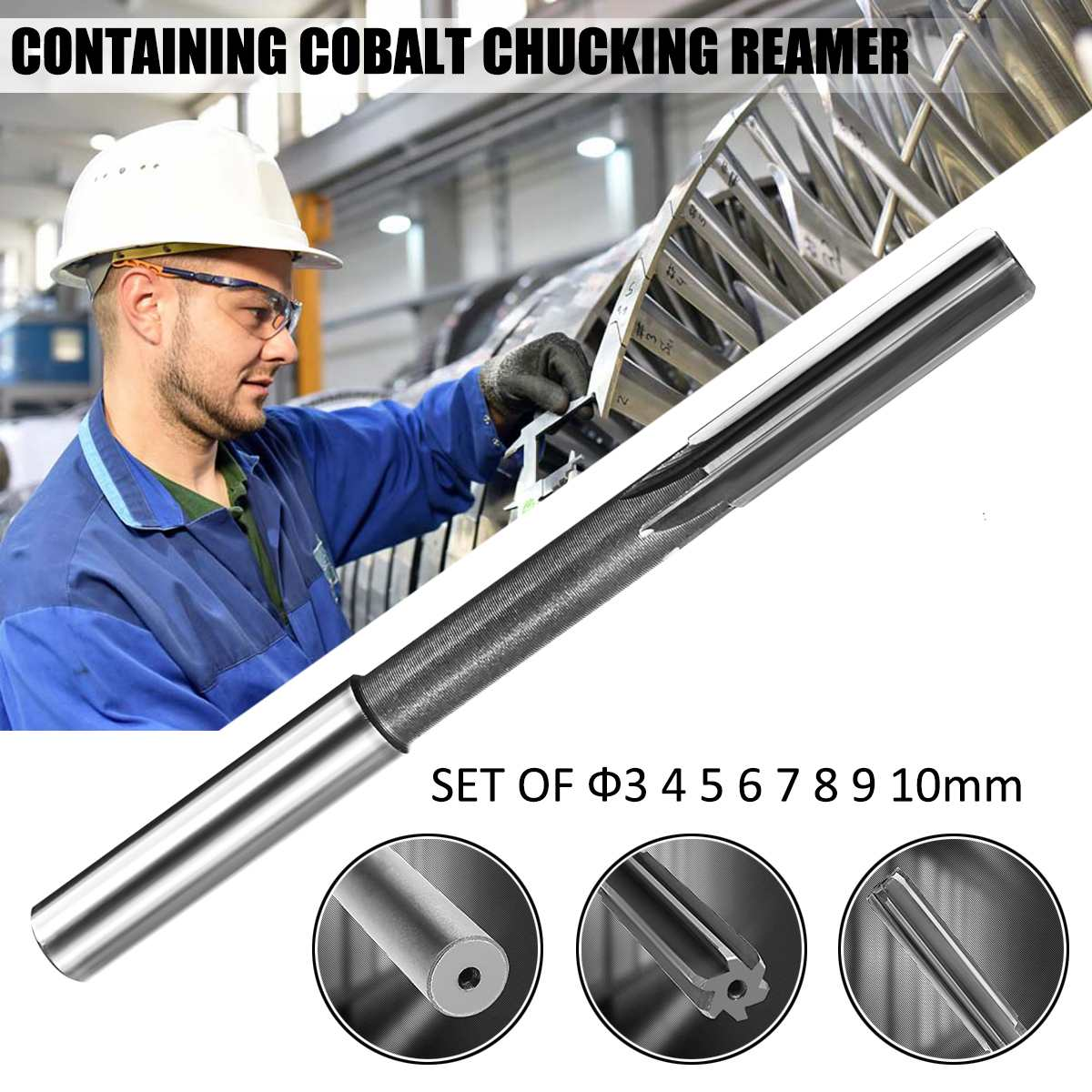 8pcs/set HSS H7 Machine Chucking Reamer Milling <font><b>Cutter</b></font> Set 3/4/5/6/7/<font><b>8</b></font>/9/10/<font><b>mm</b></font> Machine Cutting Tools image