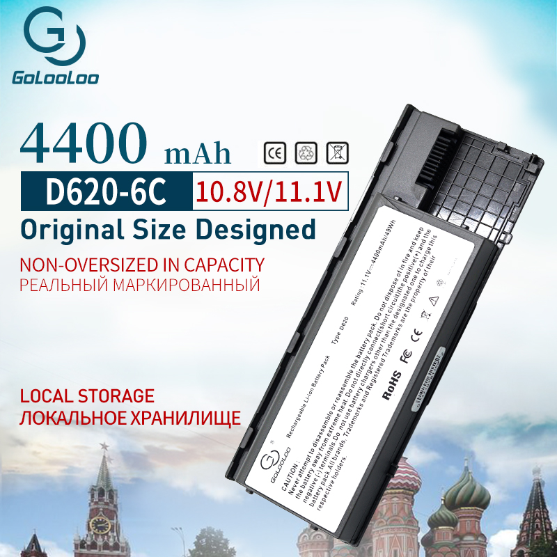Golooloo 4400mah 6 Cells Laptop Battery For Dell Latitude D620 D630 D631 KD491 KD492 KD494 KD495 PC764 PC765 PD685 RD300 TC030