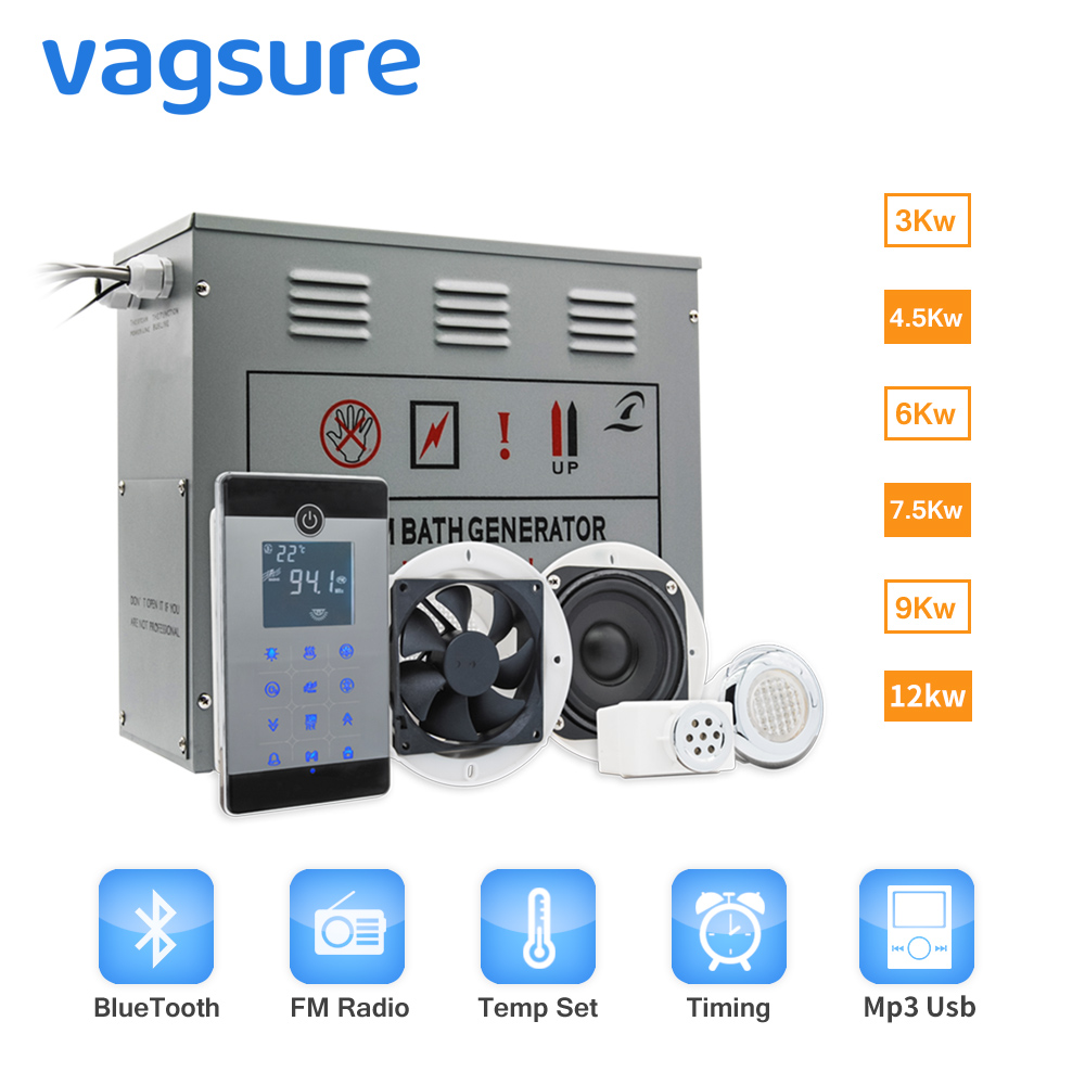 Bluetooth radio FM sterownik lcd 6KW/AC240V Sauna generator do kąpieli parowej łazienka prysznic pary ozon za pomocą oleju perfum dysza w Sauny od Majsterkowanie na title=
