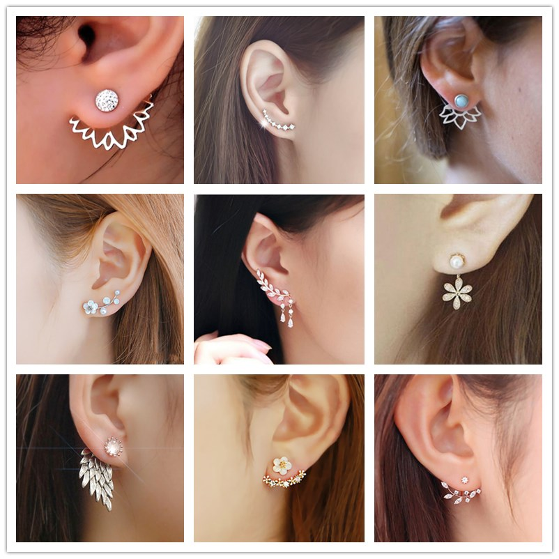 Korean Jewelry Zircon Heart Crystal Flower Stud Earrings For Women Fashion Double Sides Gold Silver Color Statement Jewelry