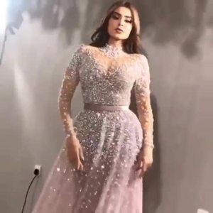 Image 5 - Роскошное вечернее платье с длинными рукавами 2020, расшитое бисером, с высоким воротником, женские платья для особых случаев, сексуальные прозрачные вечерние платья с круглым вырезом