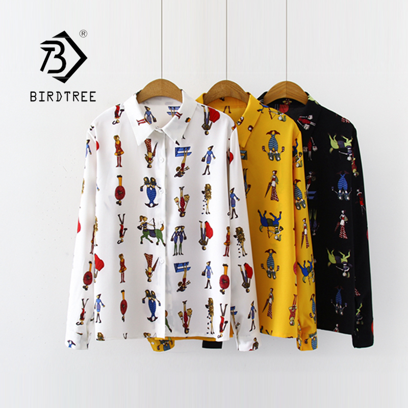 New Arrival Cartoon Beauty Print Turn-down Collar Chiffon Yellow Blouse Button Up Casual Loose White Shirt Feminina Blusa T99013