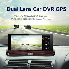 7 0 calowy 3G podwójny obiektyw kamera samochodowa z nawigacją GPS Android 5 0 Bluetooth WiFi kamera samochodowa DVR FHD 1080P kamera samochodowa DVR kamera tanie tanio winkcron 800x480 Ekran dotykowy Pojazdów gps jednostki i sprzęt dvr camera Android gps