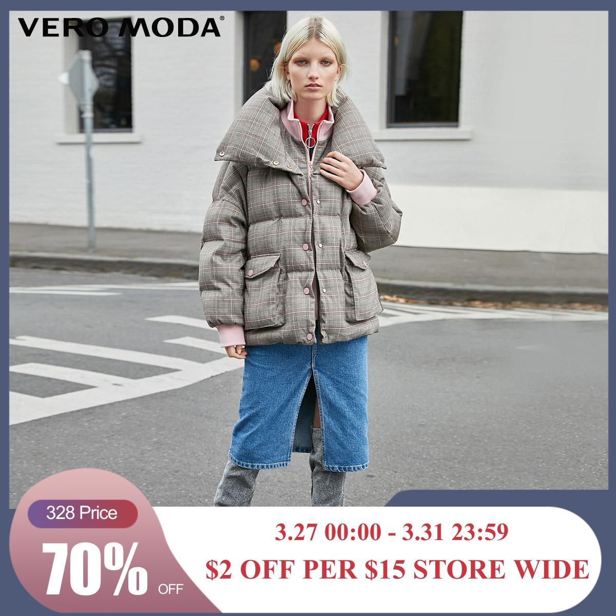 Vero Moda New Double Collars Plaid Down Jacket | 319423507