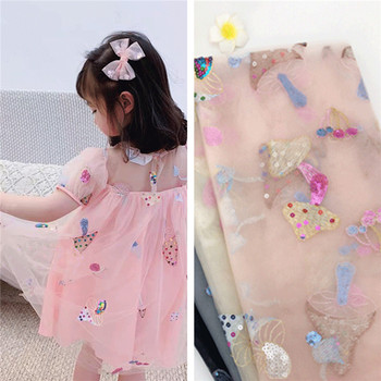 Adorable tela de encaje de setas, tela de tul de seta con lentejuelas para niñas, vestido de tul, prenda, vestido de bebé, velo, vestido de fiesta por yarda