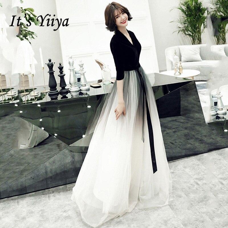 It Is Yiiya Black Evening Gown For Women Velvet V-Neck Half Sleeve Formal Dress 2020 Elegant Gradient Color Robe De Soiree K161