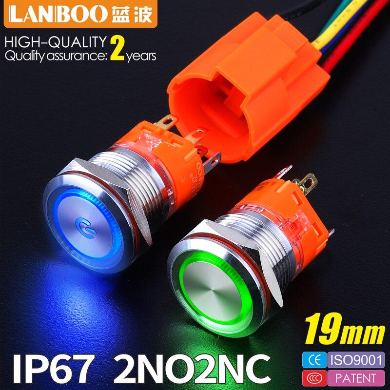 Новый продукт 19 мм 24V12V220V светодиодная подсветка из нержавеющей стали мгновенная защелка антивандальный водонепроницаемый IP67 металлический кнопочный переключатель