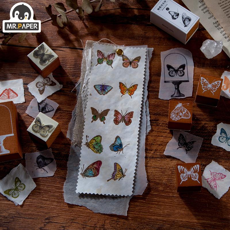 Mr.Paper Butterfly Specimen Retro Style Wooden Rubber Stamps Handal for Scrapbooking Deco Craft Wooden Stamps Standard Size Gifs 4
