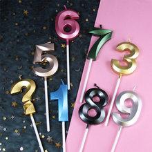 Свечи на день рождения 1, 2, 3, 4, 5, 6, 7, 8, 9, 0, золотые детские свечи на день рождения для торта, товары для вечерние, декоративные свечи для торта