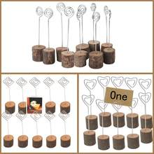 10pcs Retro Rustic Wedding Photo Wood Seat Clip Party Table Card Pictures Holder Simple High-grade Wedding Menu Seat Clip(China)