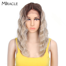 цена на Miracle Synthetic Wig 14 Inch Ombre Blonde Wavy Short Bob Wigs Synthetic Lace Front Wigs for Black Women L Part Lace Wig