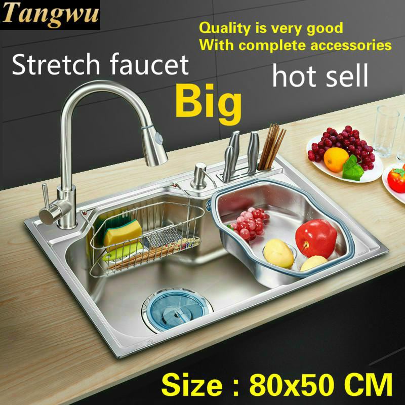 Free Shipping Household High-grade Vogue Kitchen Single Trough Sink Food Grade 304 Stainless Steel Hot Sell Large 80x50 CM