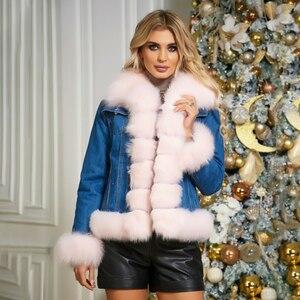 Image 4 - Женская куртка из натурального меха BFFUR, Модная Джинсовая парка с отделкой из лисьего меха, теплая зимняя парка с мехом, 2020