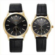 Кожа ремешок кварц пара часы мода простой пара часы WOONUN топ бренд роскошь мужчины женщины часы дропшиппинг акции