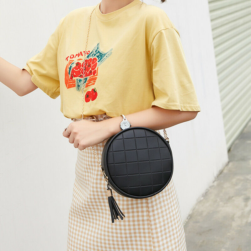 New Fashion Women Bag Mini Handbag Solid PU Leather Messenger Bag Ladies Mini Circular Crossbody Bag With Tassel Bolsas Feminina