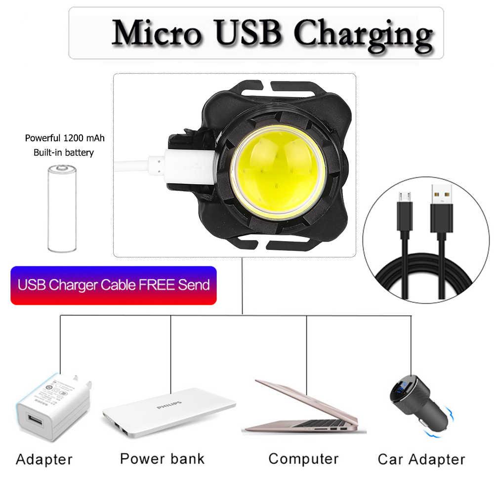 Le plus puissant phare LED COB LED phare USB Rechargeable phare tête torche étanche lampe frontale avec batterie intégrée