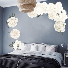 1 pzs 3piezas peonía Rosa Flores pegatinas de pared blanco Vintage papel pintado para dormitorio sala de estar calcomanías Mural chico las niñas regalo