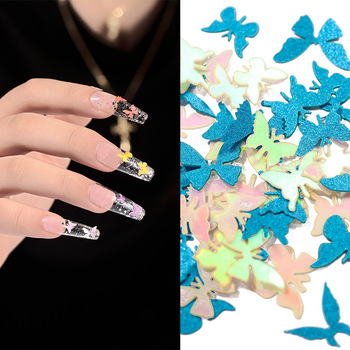 1 Box 50pcs Nail Fluorescent Wood Pulp Sheet 14 Color Handmade Stereo Butterfly Patch