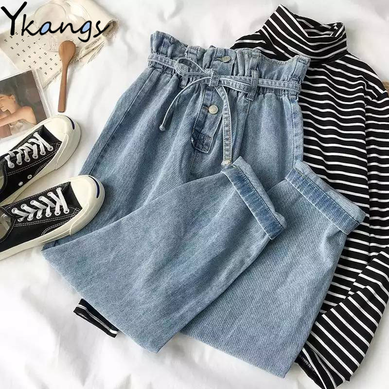 Elastic High Waist Plus Size Harem Denim Pants Women Spring Buttons Drawstring Mom Jeans Ladies Fashion Loose Female Trousers