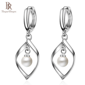 Bague Ringen Silver 925 Jewelry drop earring long sterling silver with round natural pearl  fine charm jewelry woman party gift 5