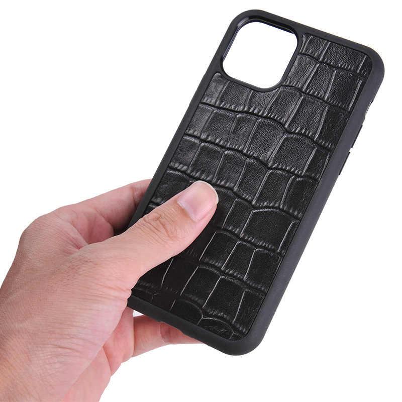 2019 nouveau 100% cuir véritable noir souple caoutchouc plein bord couverture pour iPhone 11 Pro Max 5.8 6.1 6.5 Crocodile Grain coque arrière