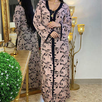 Abaya Turkey Dubai Muslim New Boho Dress Women Kaftan Abayas Moroccan 2021 Eid Mubarak Muslim African Print Long Sleeve Dresses
