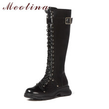 Meotina Motorcycle Boots Women Shoes Buckle Genuine Leather Flat Platform Knee-High Boots Zipper Lace Up Lady Long Boots Black knee high boots pu leather rivet lace up sexy lady high boots shoes woman ponited female classic vintage botas riding motorcycle
