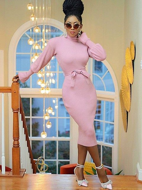 WJFZQM Turtleneck Basic Ribbed Knitted Sweater Dress Autumn Ruffles Sleeve Sashes Midi Sexy Bodycon Winter Office Pink Dresses 5