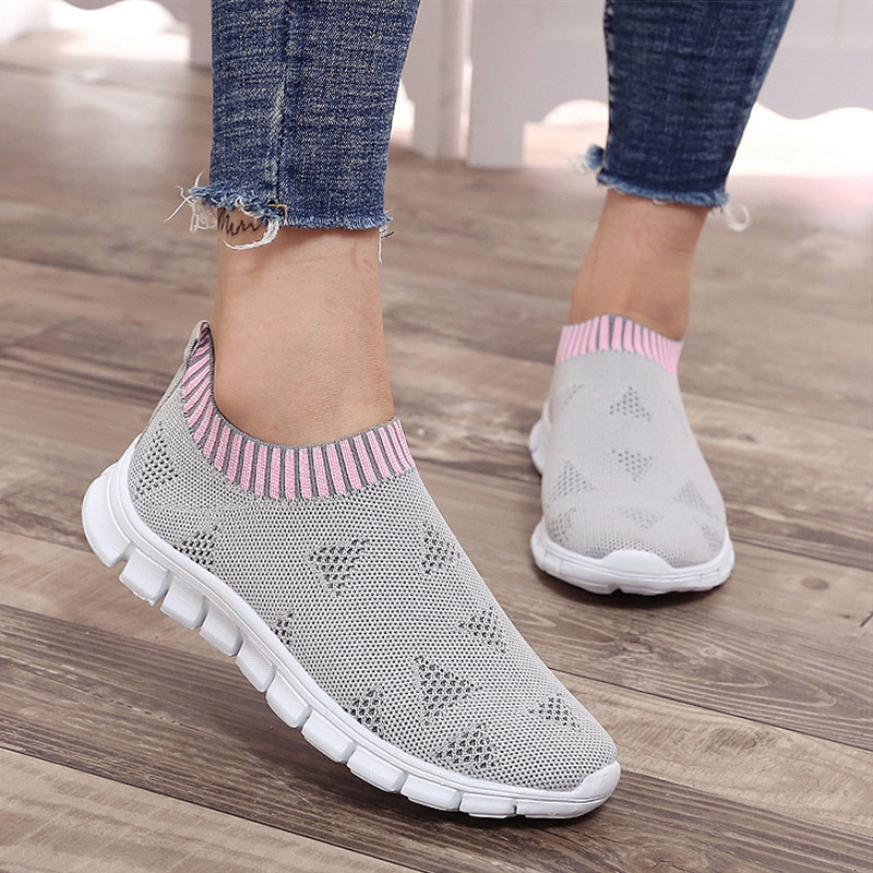 Women Shoes Plus Size Sneakers Women Breathable Mesh Sports Shoes Female Slip On Platform Sneakers White Knit Sock Shoes Casual