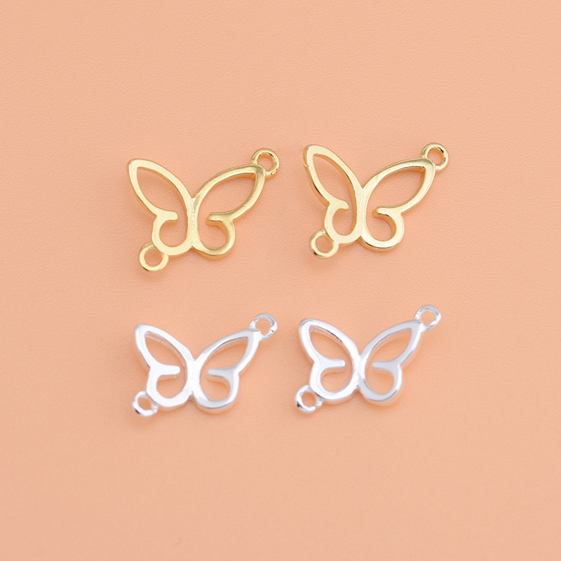925 Sterling Silver Butterfly Connection Double Circle Accessories  Handmade Diy Jewelry Bracelet Necklace Beaded Material