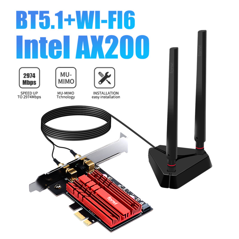 3000Mbps Wifi 6 Intel AX200 Pro PCIe Wireless Adapter WiFi Card Bluetooth5.1 802.11AX Dual band 2.4G/5Ghz MU-MIMO For Desktop PC