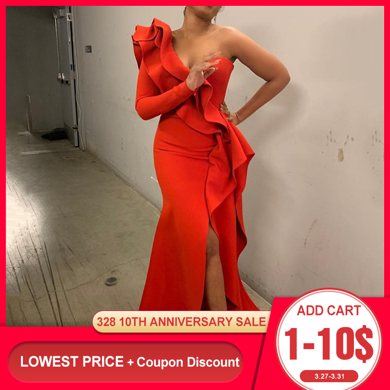 African Style Elegant Party Sexy Evening Women Long Dresses One Shoulder Bodycon Split Female Ruffles Maxi Red Dress Plus Size