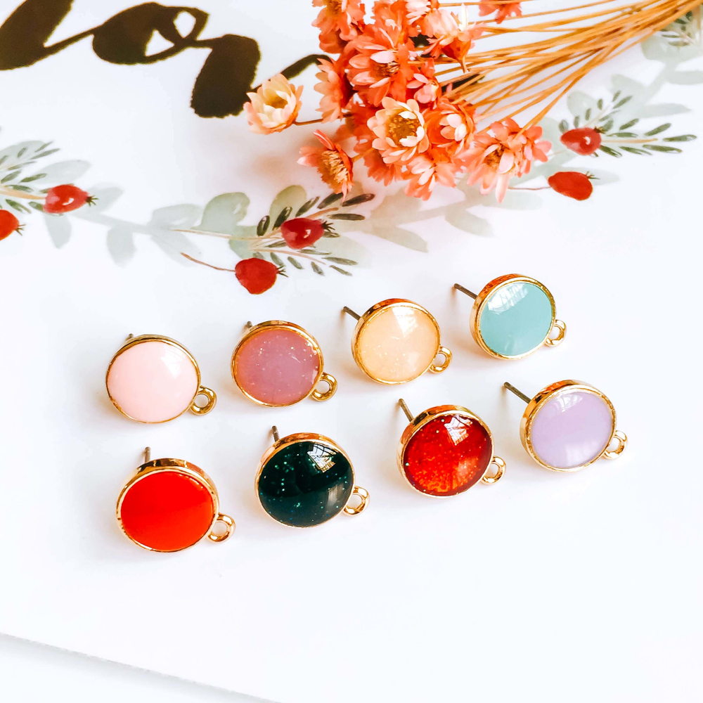 Multicolors Stud Earrings Finding Simple Eardrop Accessories Jewelry Component Diy Material Handmade 11x14mm 8pcs