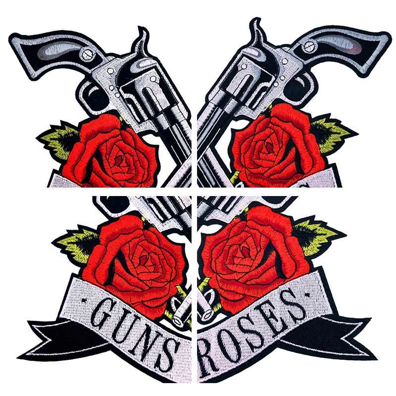 GUN And Rose Flower Applique Clothing Embroidery Patch Fabric Sticker Iron DIY