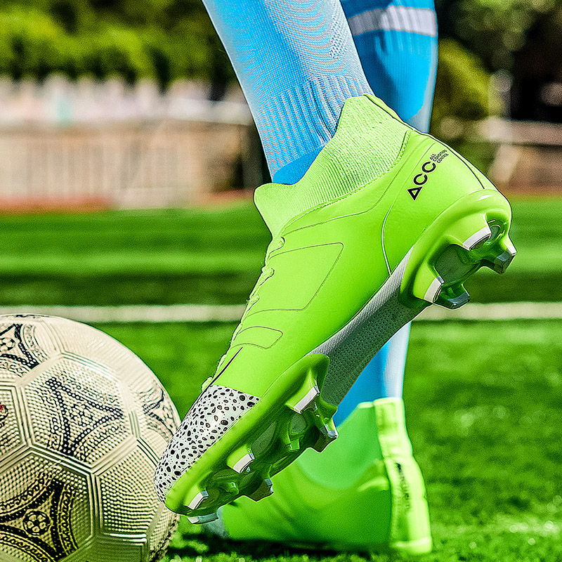 Men Football Boots Soccer Cleats Boots Long Spikes TF Spikes Ankle High Top Sneakers Soft Indoor Turf Futsal Soccer Shoes Men|Soccer Shoes| |  - title=