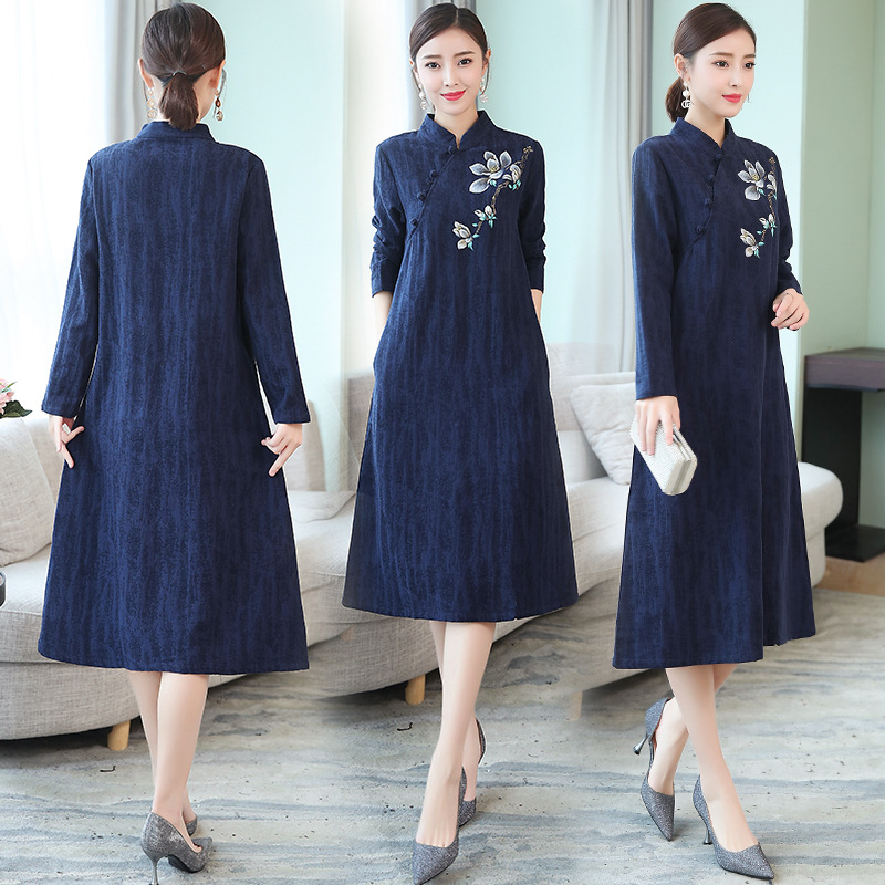 2018 Cotton Linen Jacquard Dress Hand-Painted Stand Collar Zen Service Medium-length Dress WOMEN'S Dress