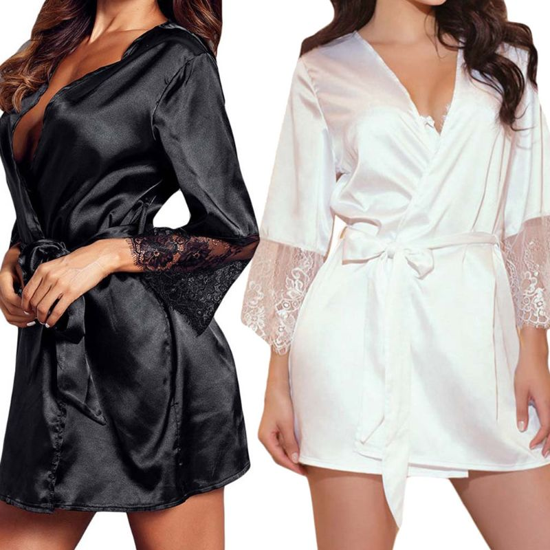 Womens Erotic Faux Silk Short Kimono Bath Robe 3/4 Sleeves Floral Lace Splice Nightgown Open Front V-Neck Mini Dress Sleepwear