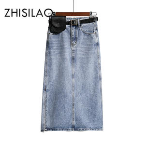 Jeans Skirt Belt A-Line Chic Elegant Vintage Long Straight Plus-Size Women Summer High-Wasit