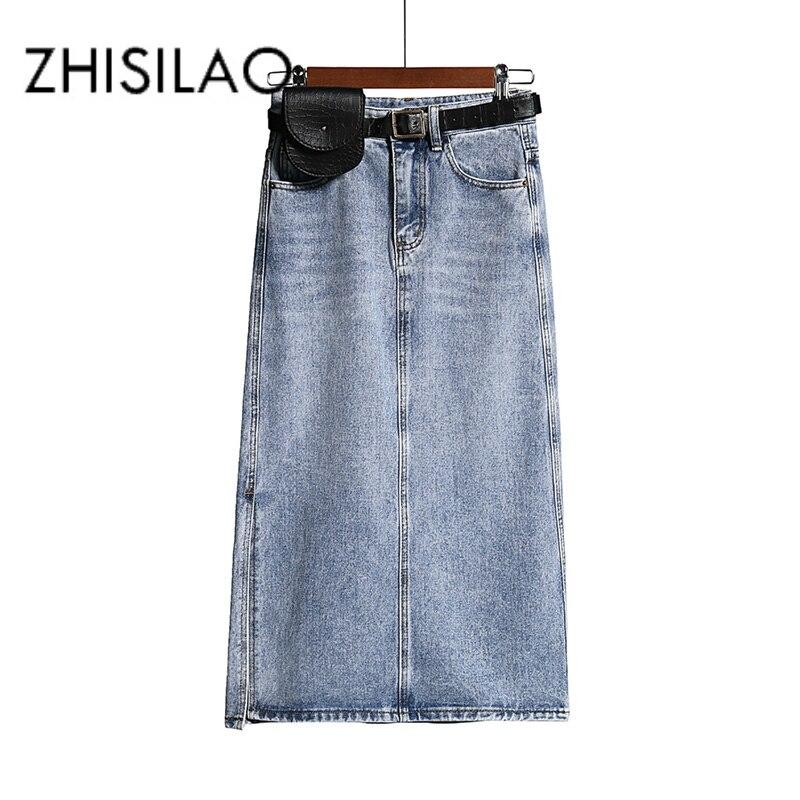 Длинная джинсовая юбка женская винтажная Высокая Васит джинсовая юбка с поясом размера плюс прямая а силуэта элегантная юбка карандаш Лето 2020 шик|Юбки|   | АлиЭкспресс