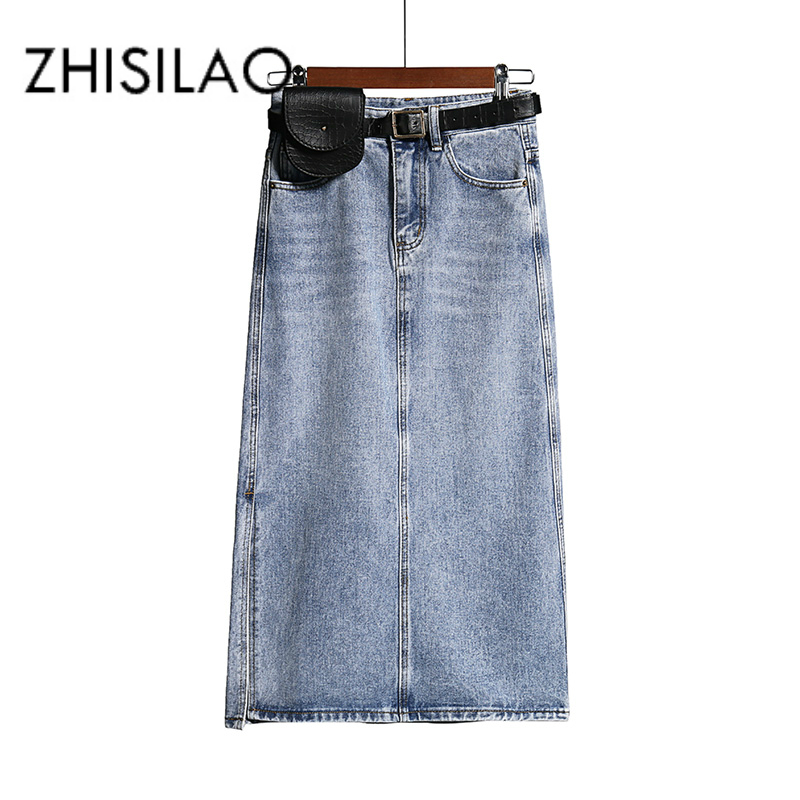 Long Denim Skirt Women Vintage High Wasit Jeans Skirt with Belt Plus Size Straight A-line Pencil Skirt Elegant Summer 2020 Chic(China)
