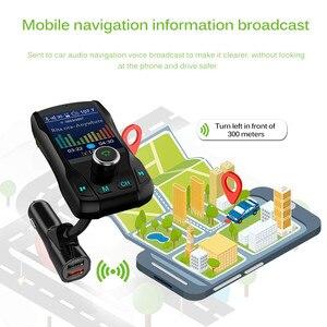 Image 4 - Caricabatterie per auto Kit vivavoce Wireless Bluetooth 350 ruotabile Car MP3 Audio 5V 2.1A Dual USB carica schermo a colori trasmettitore FM