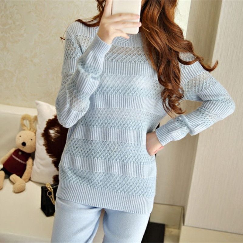 Tracksuits New Arrival Real Wool Full 2019 Winter Cashmere Suit Female High-end Sexy Hollow Knitting Fashion Two-piece Pants