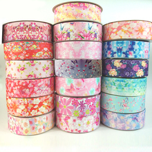 (20yards/lot) Lovely Floral Printed 25mm/38mm Grosgrain Ribbon for Crafts DIY Tape Bow Card Gifts Wrapping Lace Ribbons