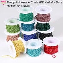 RESEN nouveauté – chaînes de strass colorées, Dense, fantaisie, vêtements, couture, verre, strass, tasse, chaîne avec base colorée
