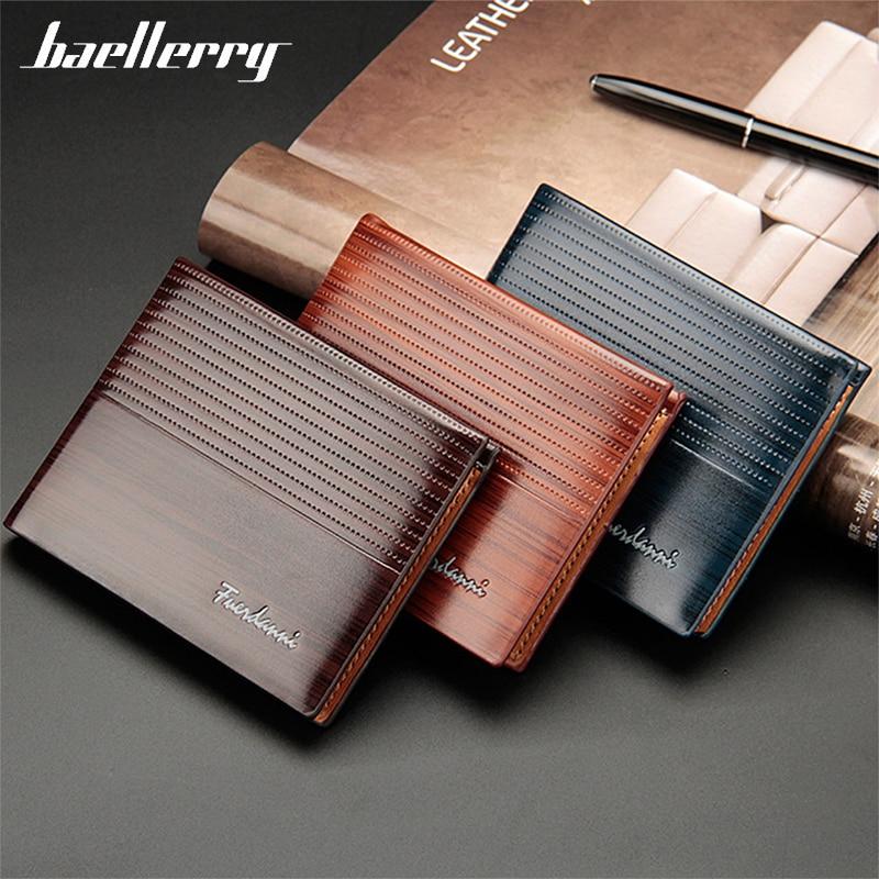 Baellerry Men's Wallet Designer Wallets Luxury Short  Purse PU Leather Vintage Credit Card Embossed Money Bag Purses Mens Wallet