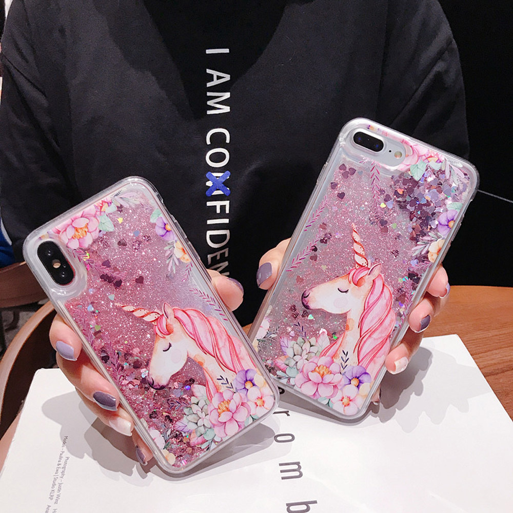 FQYANG Flamingo Unicorn Dynamic Liquid Quicksand Transparent Phone Case For REDMI NOTE 6 PRO 6 6A NOTE5 PRO 5A 5 4X Back Cover