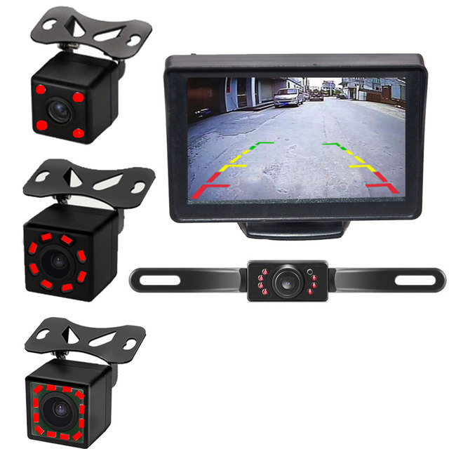 4.3 5 Inch Car Monitor TFT LCD HD Digital Screen for Reverse Rear View Camera DVD VCD with Parking Back IR camera