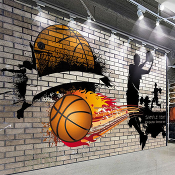 Custom Mural Wallpaper 3D Nostalgic Brick Wall Basketball Fresco Restaurant Cafe Bar Background Wall Painting Papel De Parede 3D free shipping custom wallpaper mural retro japanese traditional culture restaurant sushi shop background wall painting deco